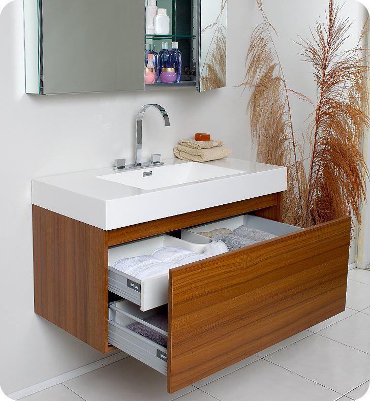 Picture of Fresca Mezzo Modern Bathroom Vanity with Medicine Cabinet in Teak