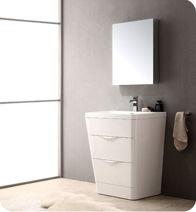 "Picture of Fresca Milano 26"" Modern Bathroom Vanity in a Glossy White Finish with Medicine Cabinet and Faucet"