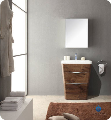 """Picture of Fresca Milano 26"""" Modern Bathroom Vanity in a Rosewood Finish with Medicine Cabinet and Faucet"""