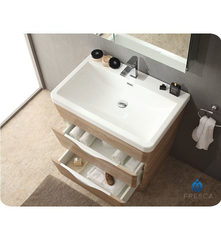 """Picture of Fresca Milano 32"""" Modern Bathroom Vanity in a White Oak Finish with Medicine Cabinet and Faucet"""