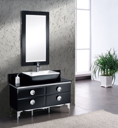 """Picture of 47"""" Modern Glass Bathroom Vanity with Mirror"""