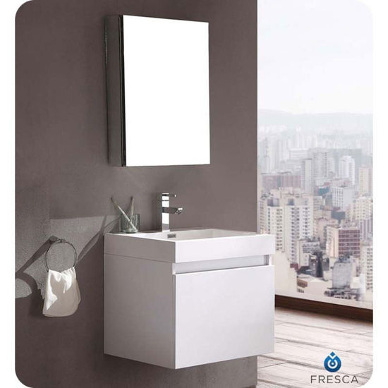 "Picture of Fresca Nano 24"" White Modern Bathroom Vanity with Medicine Cabinet"