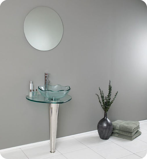 "Picture of Fresca Netto 24"" Modern Glass Bathroom Vanity with Wavy Edge Vessel Sink"