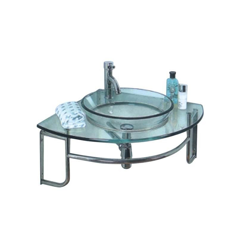 "Picture of Fresca Ordinato 34"" Corner Mount Modern Glass Bathroom Vanity"