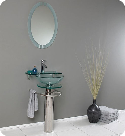 "Picture of Fresca Ovale 24"" Modern Glass Bathroom Vanity with Frosted Edge Mirror"