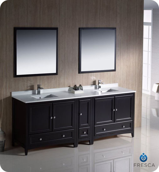 """Picture of Fresca Oxford 84"""" Espresso Traditional Double Sink Bathroom Vanity w/ Side Cabinet"""