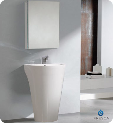 "Picture of Fresca Parma 24"" White Pedestal Sink with Medicine Cabinet"