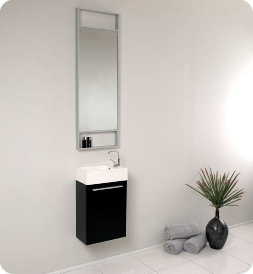 "Picture of Fresca Pulito 16"" Small Black Modern Bathroom Vanity with Tall Mirror"
