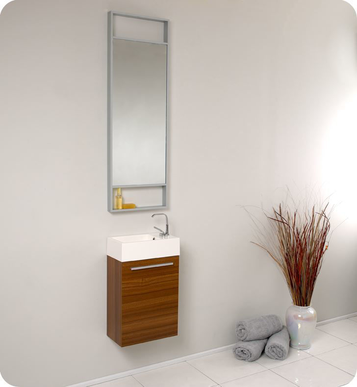 """Picture of Fresca Pulito 16"""" Small Teak Modern Bathroom Vanity with Tall Mirror"""