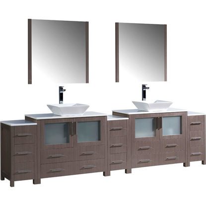 "Picture of Fresca Torino 108"" Gray Oak Modern Double Sink Bathroom Vanity with 3 Side Cabinets and Vessel Sinks"