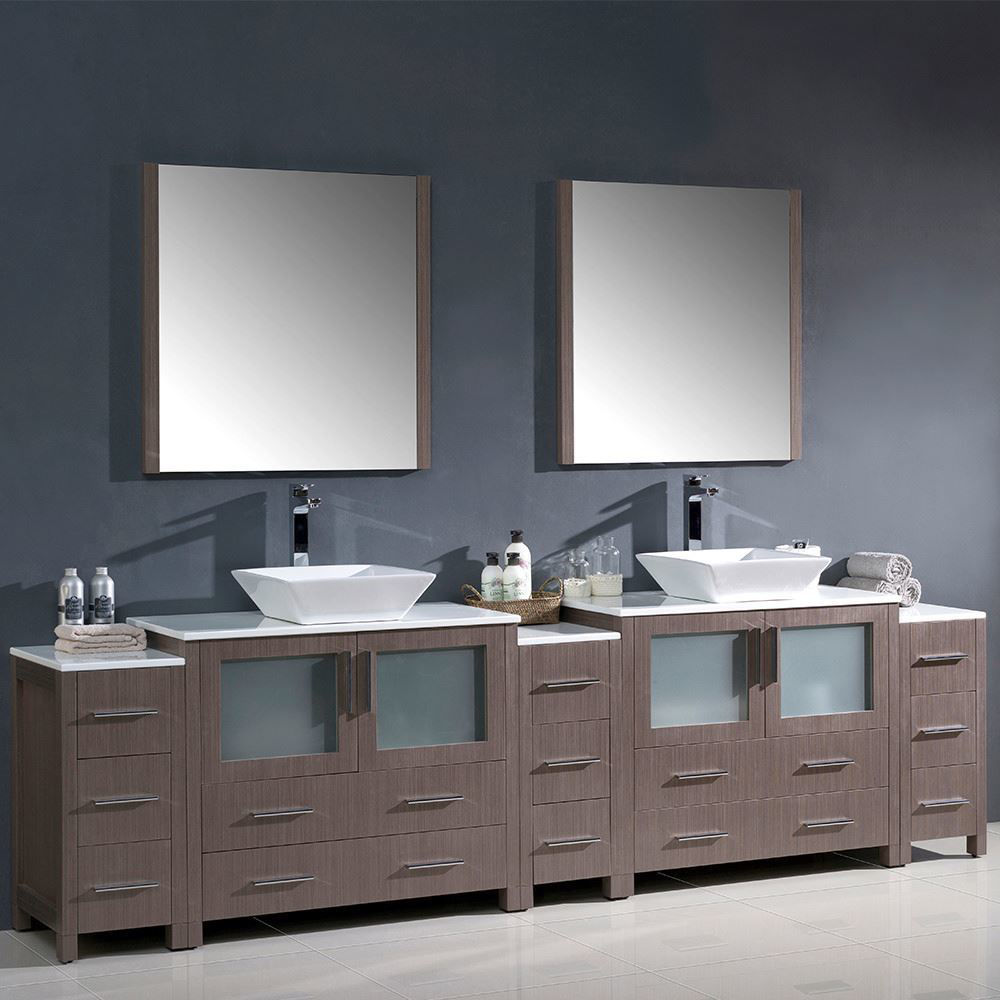 """Picture of Fresca Torino 108"""" Gray Oak Modern Double Sink Bathroom Vanity with 3 Side Cabinets and Vessel Sinks"""