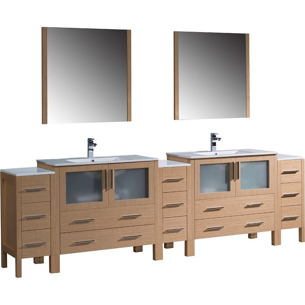 "Picture of Fresca Torino 108"" Light Oak Modern Double Sink Bathroom Vanity with 3 Side Cabinets and Integrated Sinks"