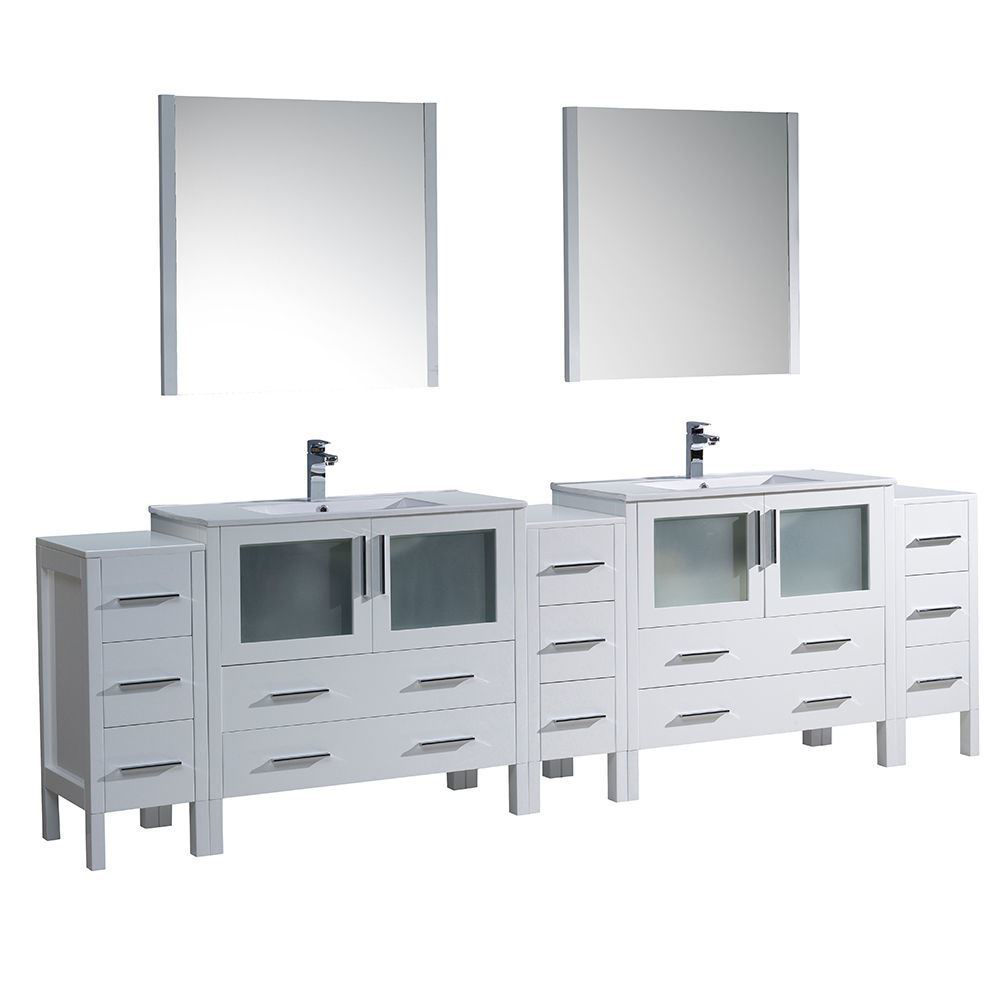 """Picture of Fresca Torino 108"""" White Modern Double Sink Bathroom Vanity with 3 Side Cabinets and Integrated Sinks"""