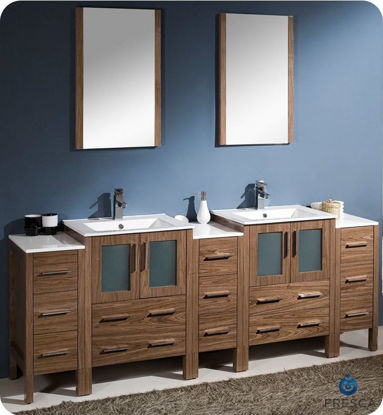 "Picture of Fresca Torino 84"" Walnut Brown Modern Double Sink Bathroom Vanity w/ 3 Side Cabinets & Integrated Sinks"