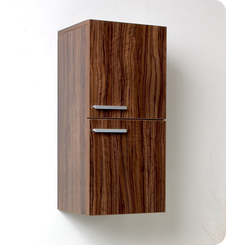 Picture of Fresca Walnut Bathroom Linen Side Cabinet w/ 2 Storage Areas