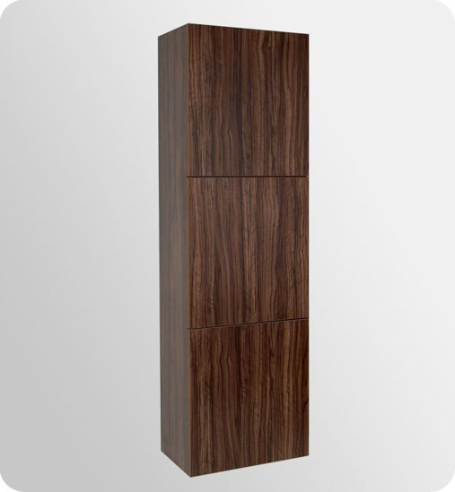 Picture of Fresca Walnut Bathroom Linen Side Cabinet w/ 3 Large Storage Areas