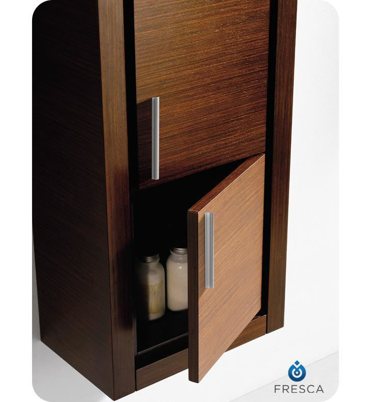 Picture of Fresca Wenge Brown Bathroom Linen Side Cabinet w/ 2 Doors