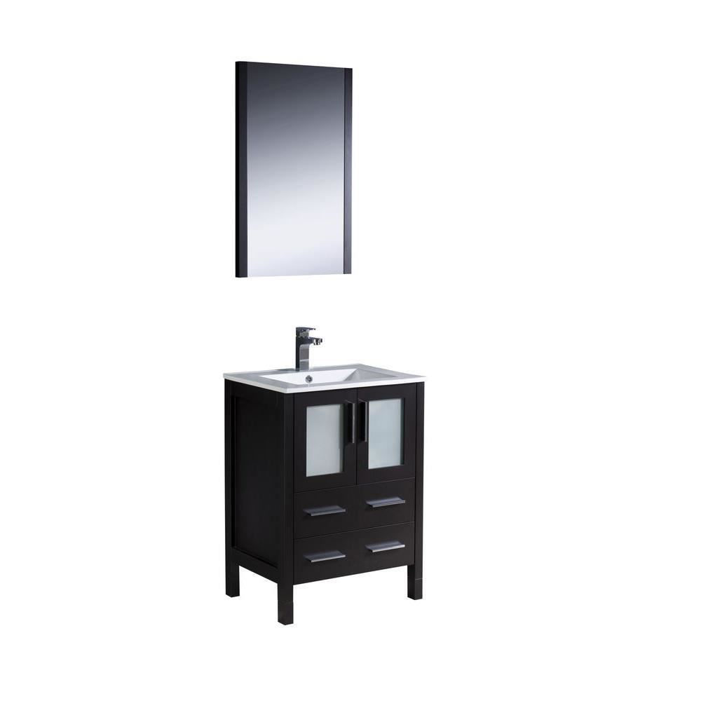 "Picture of Fresca Torino 30"" Espresso Modern Bathroom Vanity w/ Integrated Sink"