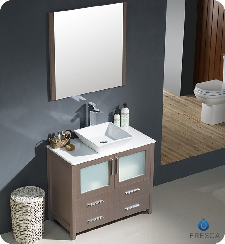 "Picture of Fresca Torino 36"" Gray Oak Brown Modern Bathroom Vanity with Vessel Sink"
