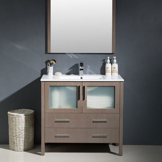 """Picture of Fresca Torino 36"""" Gray Oak Modern Bathroom Vanity with Integrated Sink"""