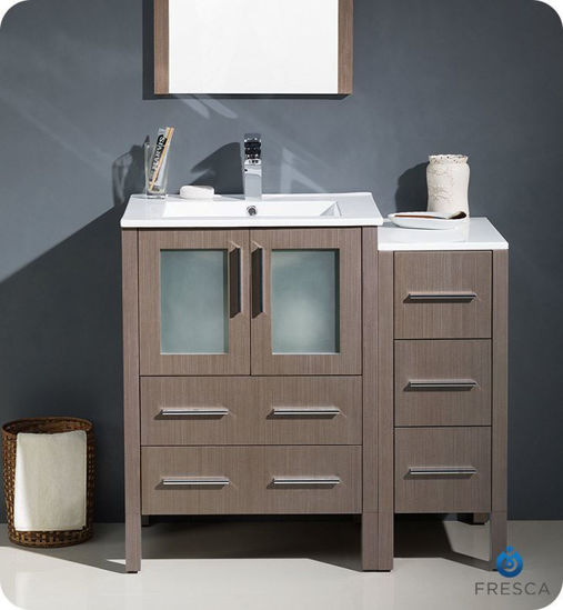 "Picture of Fresca Torino 36"" Gray Oak Modern Bathroom Vanity with Side Cabinet and Integrated Sinks"