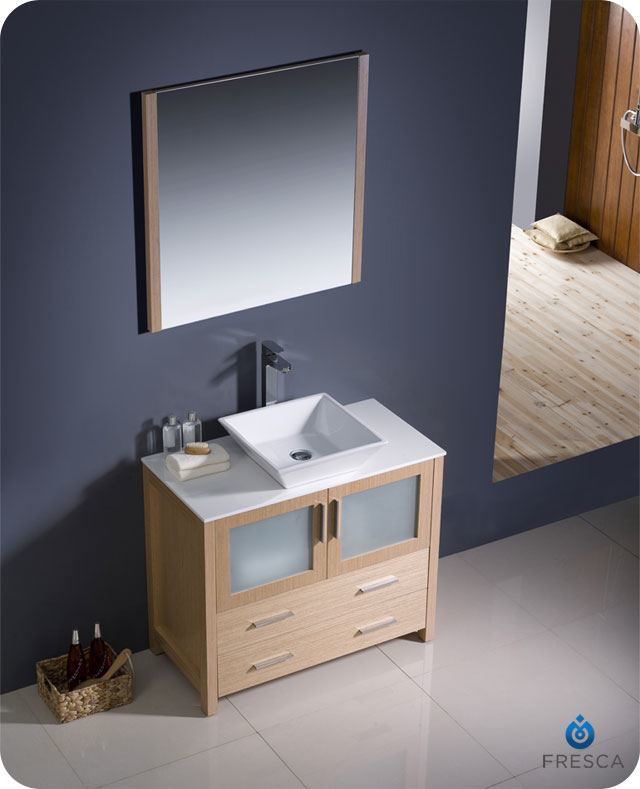 "Picture of Fresca Torino 36"" Light Oak Modern Bathroom Vanity w/ Vessel Sink"