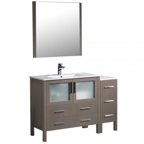 "Picture of Fresca Torino 48"" Gray Oak Bathroom Vanity with Side Cabinet and Integrated Sink"