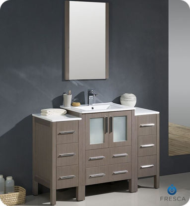"Picture of Fresca Torino 48"" Gray Oak Modern Bathroom Vanity with 2 Side Cabinets and Integrated Sink"