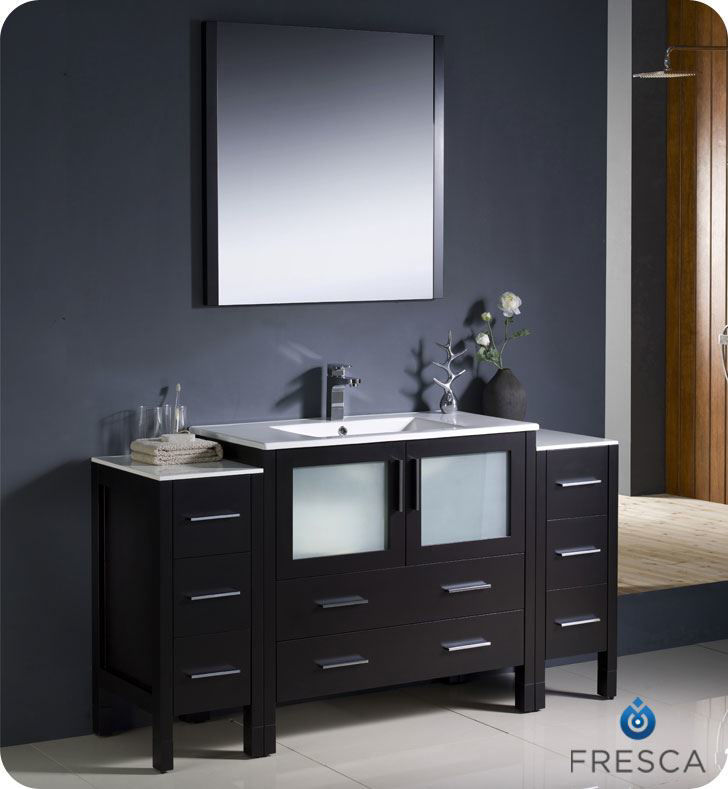 "Picture of Fresca Torino 60"" Espresso Modern Bathroom Vanity w/ 2 Side Cabinets & Integrated Sink"