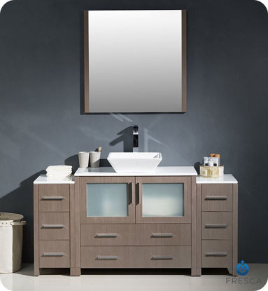 "Picture of Fresca Torino 60"" Gray Oak Modern Bathroom Vanity with 2 Side Cabinets and Vessel Sink"