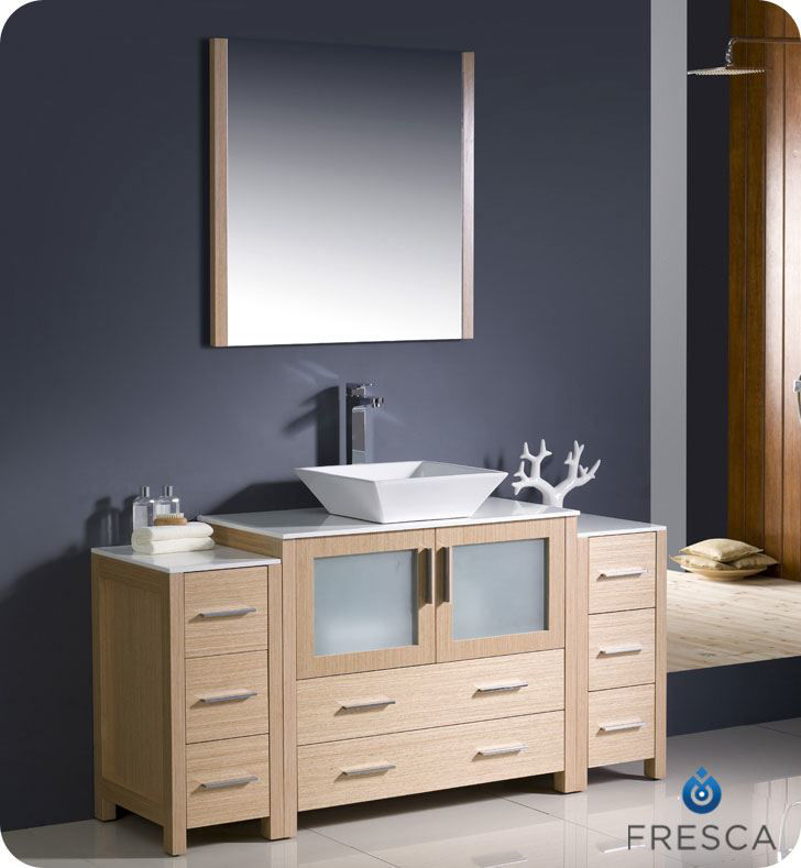 "Picture of Fresca Torino 60"" Light Oak Modern Bathroom Vanity w/ 2 Side Cabinets & Vessel Sink"