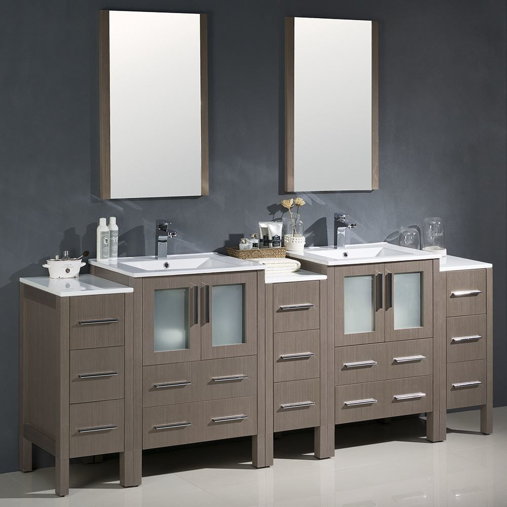 "Picture of Fresca Torino 84"" Gray Oak Modern Double Sink Bathroom Vanity with 3 Side Cabinets and Integrated Sinks"