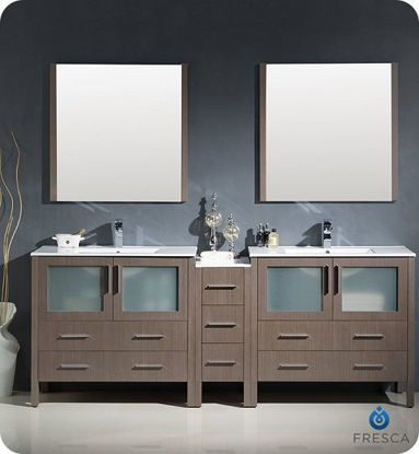 "Picture of Fresca Torino 84"" Gray Oak Modern Double Sink Bathroom Vanity with Side Cabinet and Integrated Sinks"
