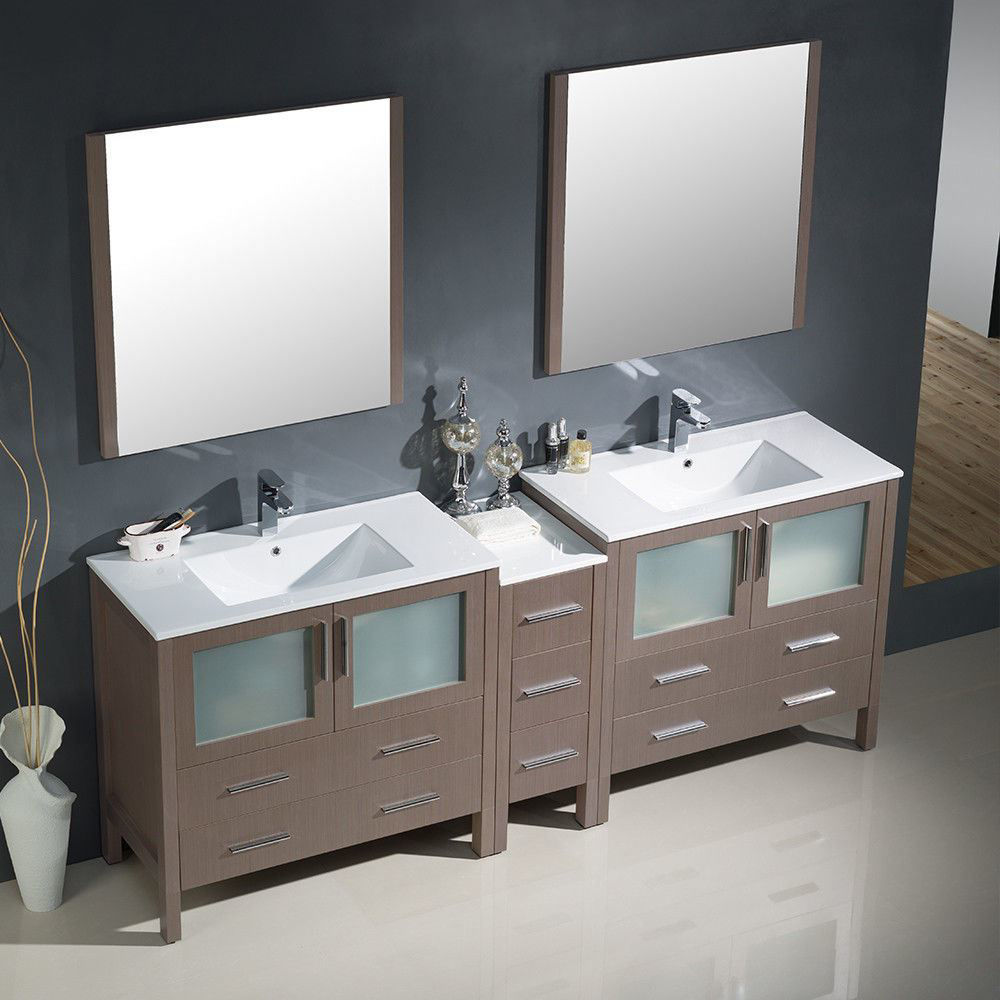 """Picture of Fresca Torino 84"""" Gray Oak Modern Double Sink Bathroom Vanity with Side Cabinet and Integrated Sinks"""