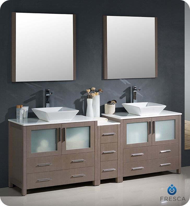"Picture of Fresca Torino 84"" Gray Oak Modern Double Sink Bathroom Vanity with Side Cabinet and Vessel Sinks"