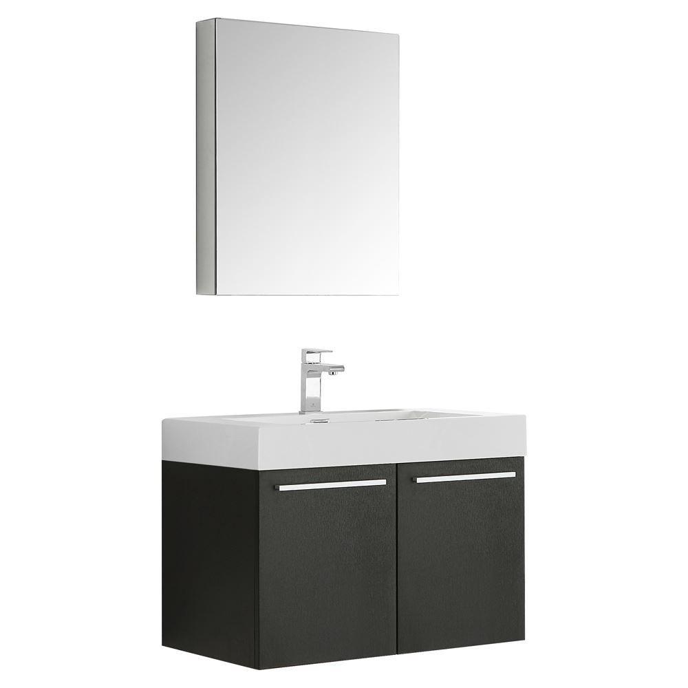"Picture of Fresca Vista 30"" Black Wall Hung Modern Bathroom Vanity w/ Medicine Cabinet"