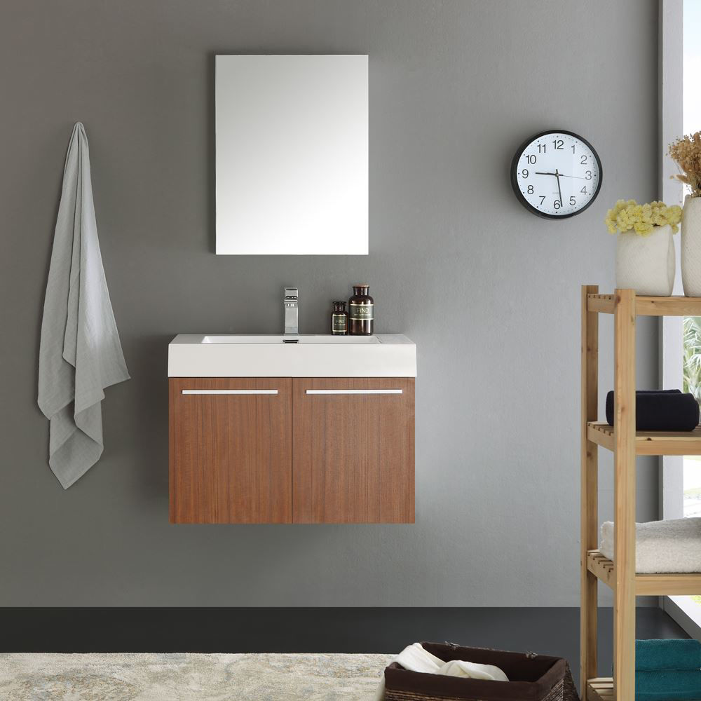 "Picture of Fresca Vista 30"" Teak Wall Hung Modern Bathroom Vanity w/ Medicine Cabinet"