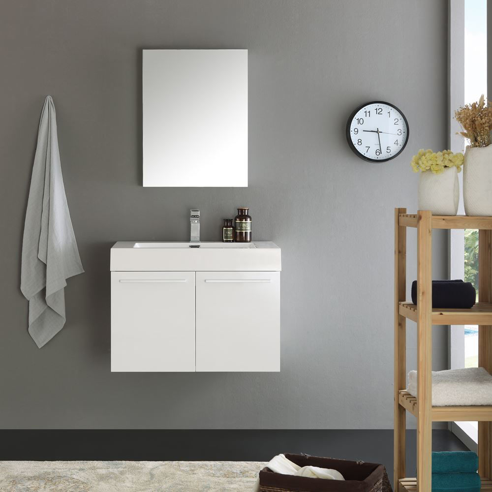 "Picture of Fresca Vista 30"" White Wall Hung Modern Bathroom Vanity w/ Medicine Cabinet"