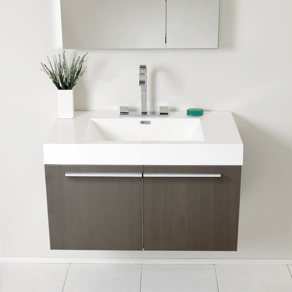 "Picture of Fresca Vista 36"" Gray Oak Modern Bathroom Vanity w/ Medicine Cabinet"
