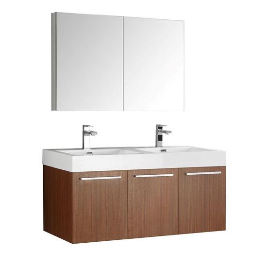 "Picture of Fresca Vista 48"" Teak Wall Hung Double Sink Modern Bathroom Vanity w/ Medicine Cabinet"