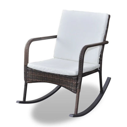 Picture of Garden Rocking Chair Poly Rattan Brown