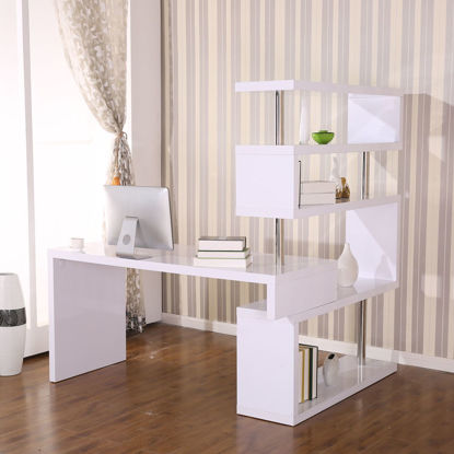 Picture of Home Office Foldable Rotating Corner Desk with Shelves