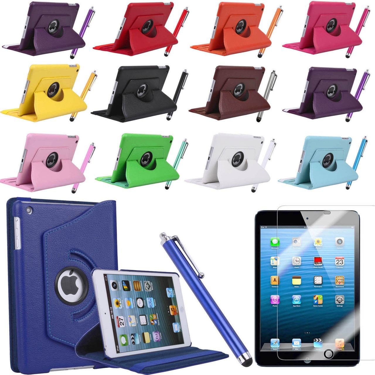 Picture of iPad Air iPad Mini iPad Mini 2 Retina 360 Rotating PU Leather Case Smart Cover Stand