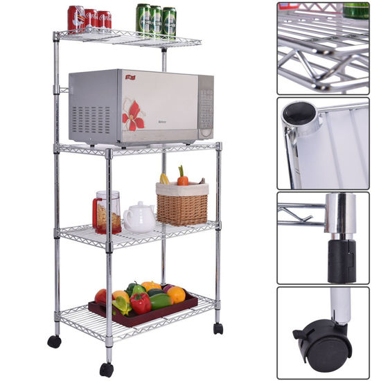 Picture of Kitchen Baker's Rack Microwave Oven Stand Storage Cart Workstation Shelf 3-Tier