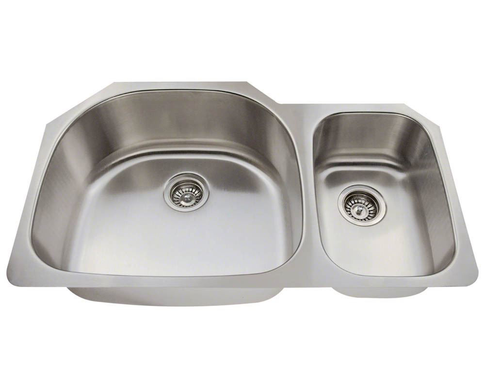 Picture of Kitchen Double Bowl Undermount Sink Stainless Steel Offset