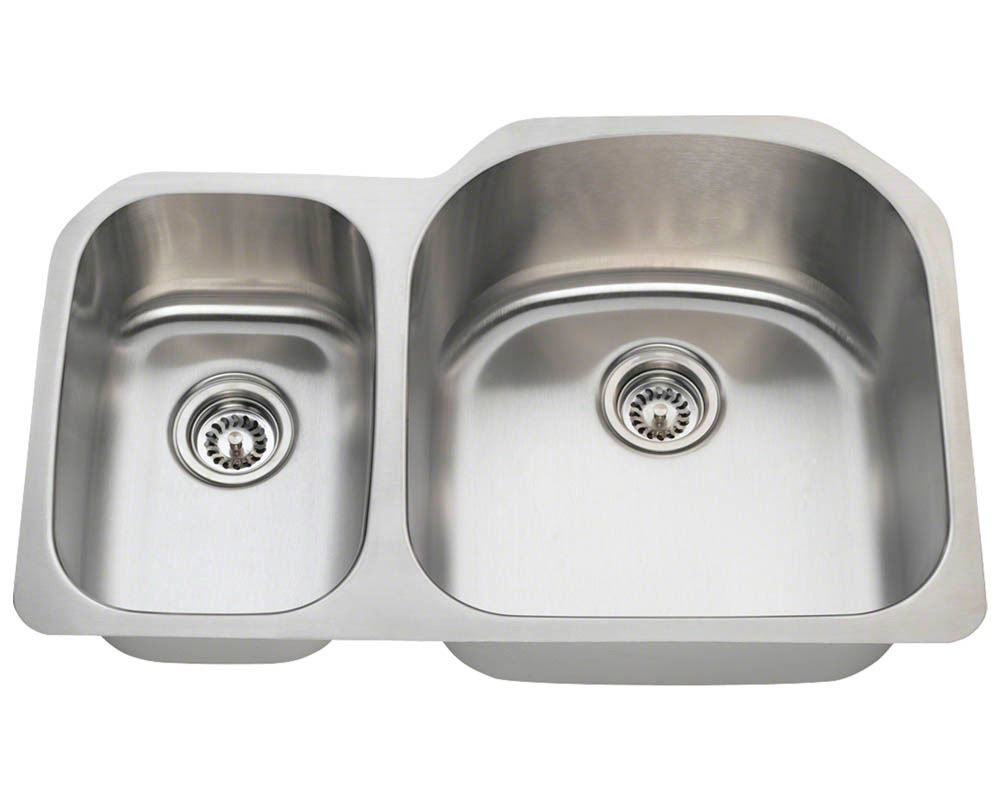 Picture of Kitchen Offset Double Bowl Undermount Sink - Stainless Steel