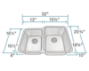 Picture of Kitchen Sink Offset Double Bowl Stainless Steel