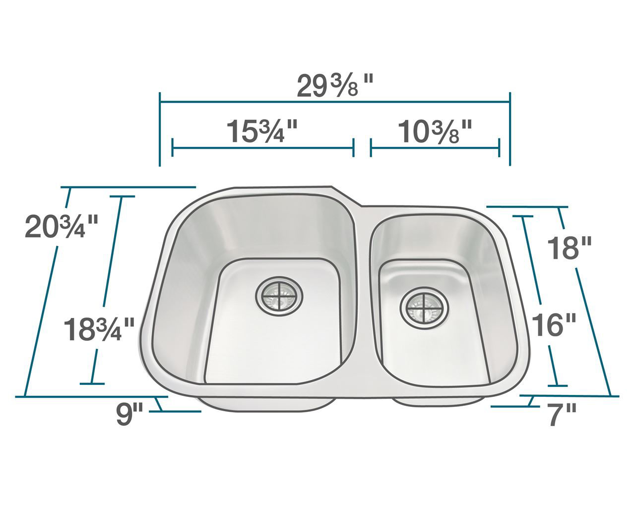 Picture of Kitchen Sink Offset Double Bowl Undermount - Stainless Steel