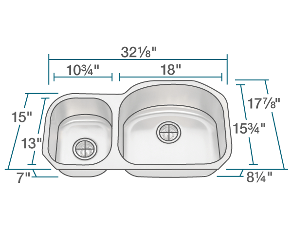 Picture of Kitchen Stainless Steel Undermount Sink Offset