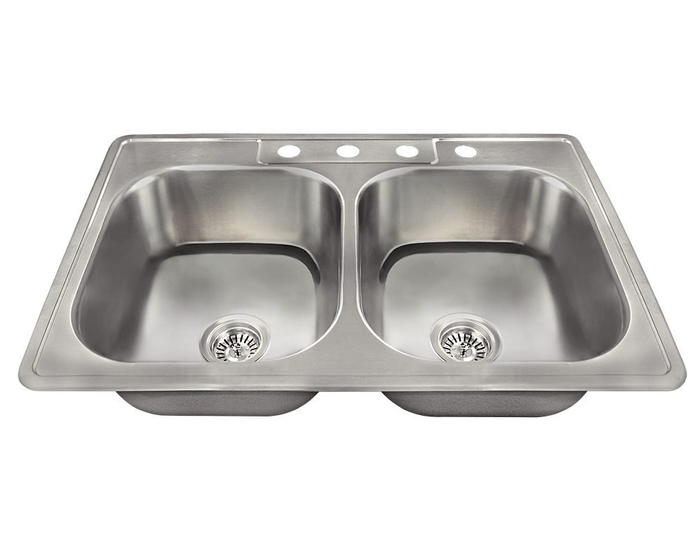 Picture of Kitchen Topmount Sink Double Equal Bowl - Stainless Steel